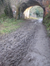 The muddy path under the main line to London