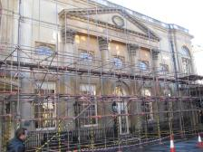 The Pump Room disappearing behind scaffolding.