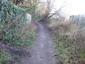 The muddy track leading to the canal towpath