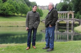 Director Giles Foster pictured on the right whilst filming in Prior Park.