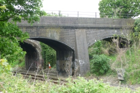 The two bridges over the London line with the S and D bridge closer to camera.
