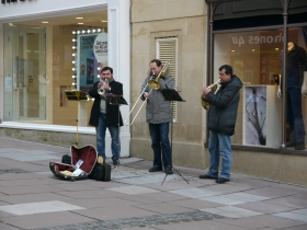 Brass playing buskers in Stall Street.