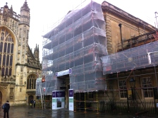 Scaffolding covering the entrance to the Roman Baths