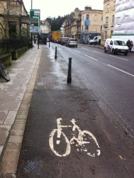A distant van blocks the very poor cycleway provision on the London Road