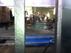 Filming within the Cross Bath. Click on images to enlarge.