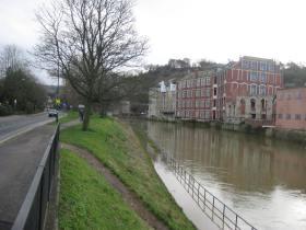 Flooded footpath.