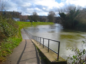 The River Avon has flooded some of the cycleway on its bank.