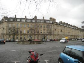 North side of Laura Place showing building that was once the Pulteney Hotel.