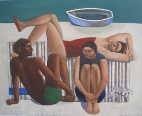 one of the works that will be on display is Tim Carroll's  'Beach Afternoon'