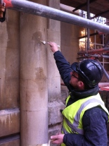 Conservator, Nick Sharland working on the facade of the Pump Room.