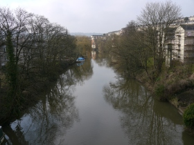 The River Avon between Pulteney and Cleveland bridges.
