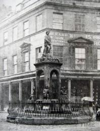 A unique view, although currently rather grainy, this image is the only known survivor. At the junction of Bath Street, the fountain gave free mineral water to the public until 1978. The work of Italian sculptor Stefhano Valerio Pieroni, it originally had a statue of King Bladud on the top when it was erected in 1859. The statue now resides in the grounds of a retirement home and the fountain was moved to Bog Island.