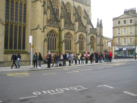 Students queueing for the number 18.