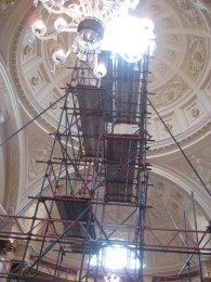Scaffolding in the ticket hall of the Roman Baths