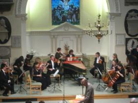 Bath Philharmonia getting ready for the concert at St Swithin's.
