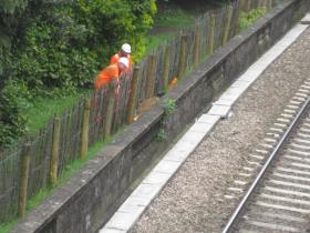 The men at work beside the track through Sydney Gardens