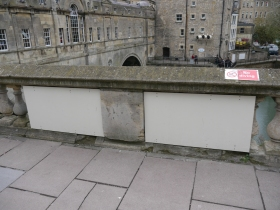 Boarded up section at Pulteney Weir