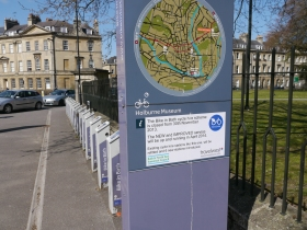 The still-empty rent-a-bike stand at the Holburne Museum - complete with notice. Please click on images to enlarge.