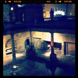 The Roman Baths at night.