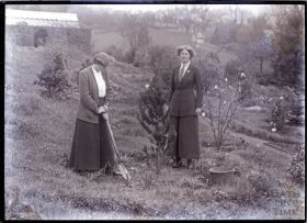 Suffragettes Laura Ainsworth & Charlotte Marsh planting a tree at Eagle House in 1911