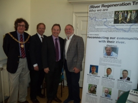 PHOTOS show left to right The Right Worshipful Mayor of Bath Cllr Malcolm Lees; Chairman of The River Regeneration Trust Geoff Dunford; Vice Chairman, B@nes Council Cllr Martin Veal; B&NES River Champion Cllr Dave Laming.