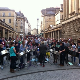 Steel band music from King Edward's School pupils in Stall Street.