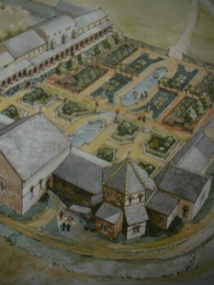 An artist's impression of the Durley Hill villa which produced the excavated mosaics.