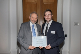 The presentation shows Cllr Ben Stevens (right) and Stephen Clews, the Council's Roman Baths & Pump Room Manager. Photo credit: Lesley Ann Ercolano.
