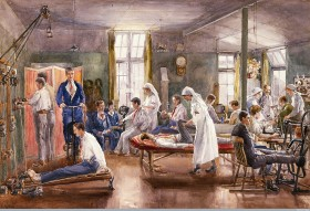 'Bath War Hospital' watercolour by E. Horton, 1918 (Credit: Wellcome Library, London)
