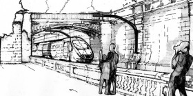 Artists impression of electrified route through Sydney Gardens
