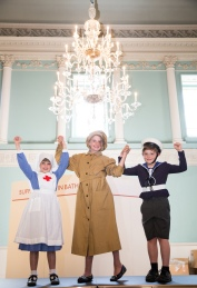 Dressing up at The Great War in Costume Exhibition at the Assembly Rooms in Bath.  Aster Haydon (9), Arabella Bonner (12) and her brother Gabriel (9). The exhibition opens on July 19th and runs to 31st August 2014.  July 2014. Photographer Freia Turland e:info@ftphotography.co.uk m:07875514528