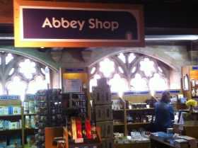 The Abbey's book and gift shop - housed in part of the South Cloister War Memorial.