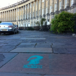More stencils going around the Crescent paving