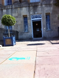 A stencil outside the Royal Crescent Hotel