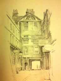 The pencil sketch of Northumberland Place by J Raymond Little.