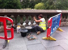 Preliminary repairs on Grand Parade.