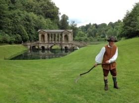 Head Gardener Matthew Wood at work with a scythe!