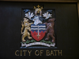 A depiction of the city's coat of arms in the Guildhall.