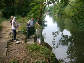 Inspecting the site of the planned floating pontoon.
