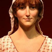 A wax work of Jane Austen at the Jane Austen Centre in Bath