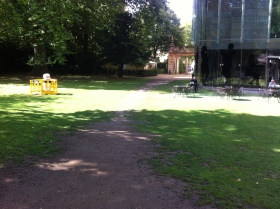 The unofficial pathway across the Holburne's back lawn.