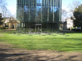 The glass extension to the Holburne Museum.