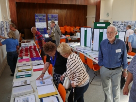Early visitors at the Worle Historical Society exhibition.