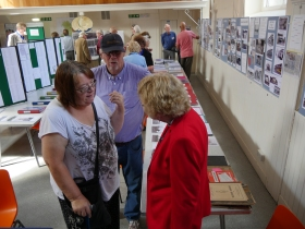 My mother deep in conversation with Mr and Mrs David Kingsbury at the exhibition.