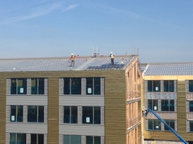 Solar panels being installed at Keynsham.
