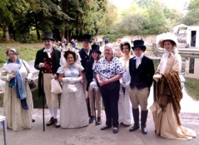 Cleveland Pools chairman Ann Dunlop surrounded by promenaders from the Jane Austen Festival.
