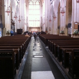 The central aisle inside Bath Abbey
