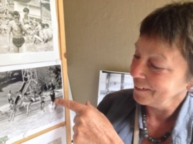 Bathwick resident Jude Sandy recognises  a few faces from the former swimmers  display boards