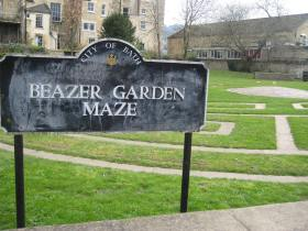 The Beazer Garden Maze sign down by Pulteney Weir.