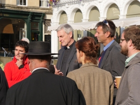 The Rector of Bath Abbey talking to buskers today.